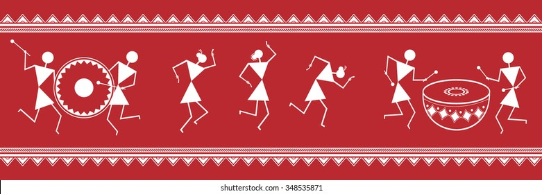 Warli painting images stock photos vectors shutterstock indian tribal painting warli painting thecheapjerseys Image collections