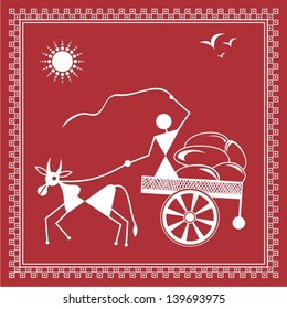 Indian tribal Painting. Warli Painting of a bullock Cart