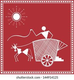 Indian tribal Painting. Warli Painting of a bullock cart