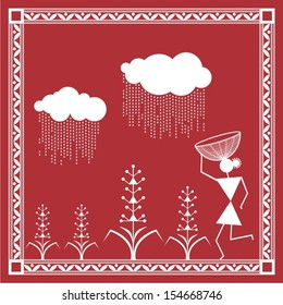 Indian tribal Painting. Warli Painting of farming in rainy season