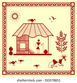 Indian tribal Painting. Warli Painting of a house