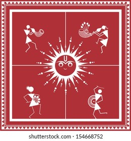 Indian tribal Painting. Warli Painting of music and dance