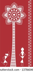 Indian tribal Painting. Warli Painting of a palm tree