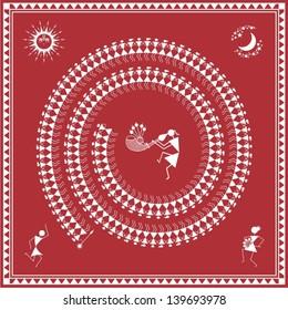 Indian tribal Painting. Warli Painting of people dancing