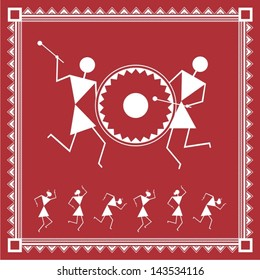 Indian tribal Painting. Warli Painting of people dancing
