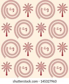 Indian tribal Painting. Warli Painting seamless pattern