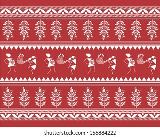 Indian tribal Painting. Warli Painting seamless pattern