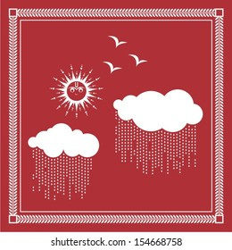 Indian tribal Painting. Warli Painting of sun and clouds in rainy season