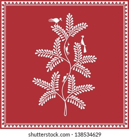 Indian tribal Painting. Warli Painting of a tree