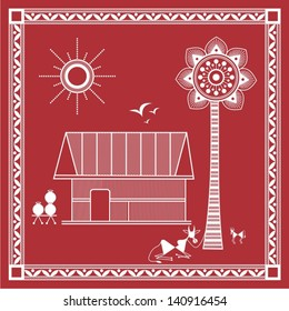 Indian tribal Painting. Warli Painting of a village house