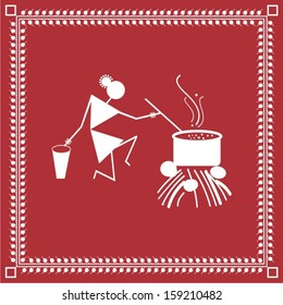 Indian tribal Painting. Warli Painting of a village woman cooking