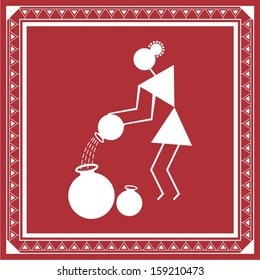 Indian tribal Painting. Warli Painting of a woman filling water in pots
