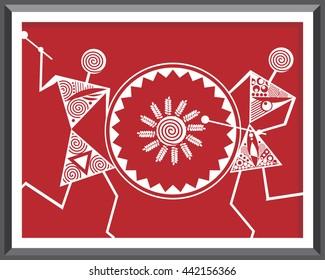 Indian Tribal Paintings. Warli Painting