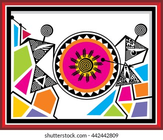 Indian Tribal Paintings. Warli Painting