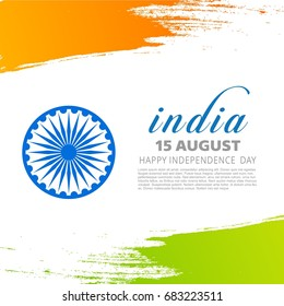 Indian tricolor flag with wheel on white background showing peace with simple typography . Poster Illustration