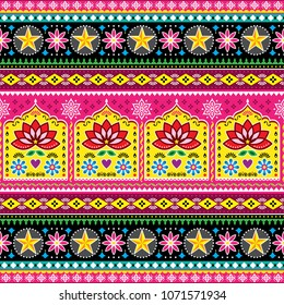 Indian truck art floral seamless folk art pattern, Pakistani Jingle trucks vector design,  vivid ornament with lotus flowers and abstract shapes. Colorful repetitive Diwali background