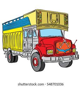 Indian Truck Cartoon Vector