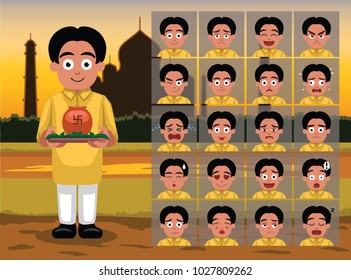 Indian Ugadi Boy Cartoon Emotion faces Vector Illustration