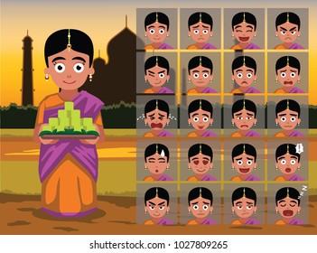 Indian Ugadi Girl Cartoon Emotion faces Vector Illustration