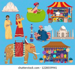 Indian vector set. Lotus temple, Taj Mahal, Indian women in traditional dresses, man smoking hookah, indian elephant with rider, spices street shop, souvenir shop, woman picking tea leaves.