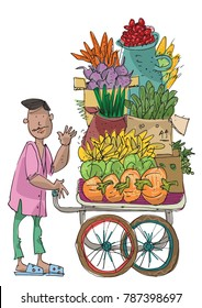 An indian vendor pushing a cart full of vegetables and fruits - harvest - cartoon