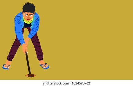 An indian village boy cartoon playing Gilli Danda alone on yellow background abstract art for sports activities concept.