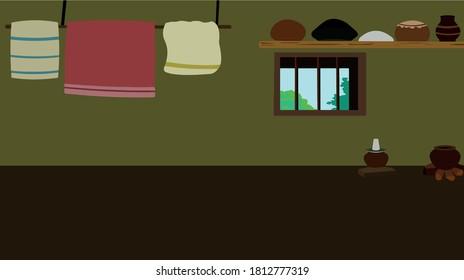 Indian village house interior vector cartoon illustration