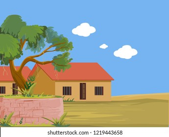 Indian Village house with tree and front of big ground