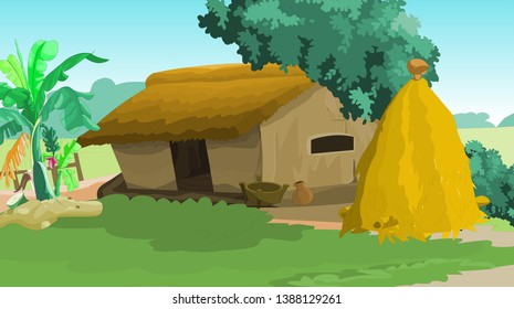 Indian Village Hut and Hay stack and Clay pitcher on the side of the house  - Vector