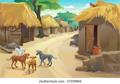 Indian Village , Huts and dogs , Simple life