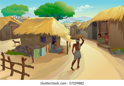 Indian Village Life Dwellers In Hut And A Man Walking