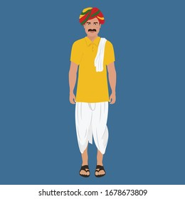 Indian Village Man in Kurta and Dhoti with Colorful Rajasthani Turban - Front Side Pose