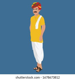 Indian Village Man in Kurta and Dhoti with Colorful Rajasthani Turban - One Third Side Pose