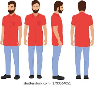 Indian Village Man in red shirt and light blue jeans with heavy dark beard,