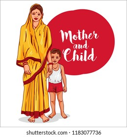 indian village. mother with child vector illustration