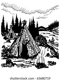 Indian Village - Retro Clipart Illustration