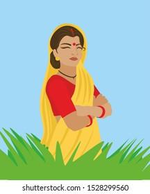 indian village woman vector illustration. rular india