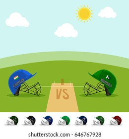 Indian Vs Pakistan Cricket Match concept with batsman helmets on green field background in day time.