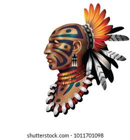 Indian warrior on white background