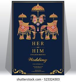 Indian wedding card, Elephant patterned gold and crystals color.