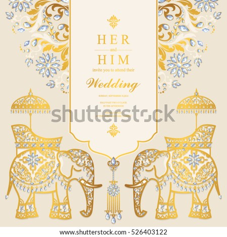 Indian Wedding Card Elephant Patterned Gold Stock Vector Royalty
