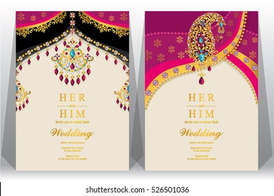 Indian wedding card, gold and crystals color.