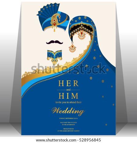 Indian Wedding Card Gold Crystals Color Vector De Stock Libre De