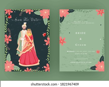 Indian Wedding Card Template Layout with Couple Image in Front and Back View.