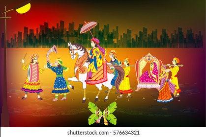 Indian Wedding Ceremony .    Indian  Hindu Wedding Invitation  Card, All elements are in separate layers color can be changed easily.