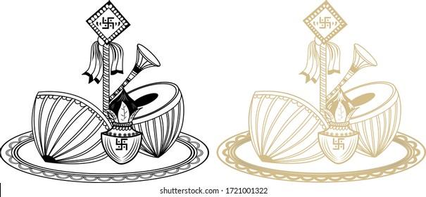 INDIAN WEDDING CLIP ART BLACK AND WHITE KALASH AND NAGADA