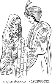 Indian wedding clip art of man and woman getting married. INDIAN BRIDE AND GROOM VECTOR LINE ART DRAWING CLIP ART. Indian wedding symbol bride groom vector illustration line art.
