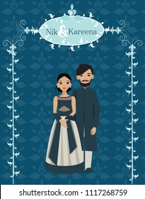 indian wedding couple in wedding invitations card , flat vector islated with blue background