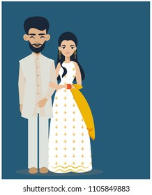 Indian wedding couple in traditional dress holding hands and smiling. Cute cartoon illustration,flat vector isolated from background.