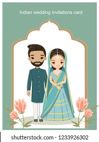 indian wedding couple in traditional dress for wedding invitations card